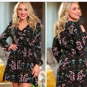 Black Floral Dress with Ruffle Detail